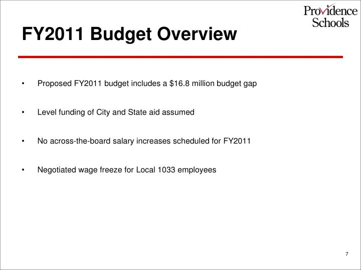 FY2011 Budget Overview