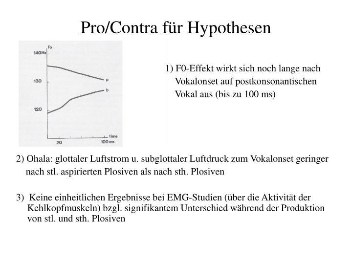 Pro/Contra für Hypothesen