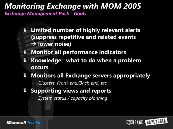 Monitoring Exchange with MOM 2005
