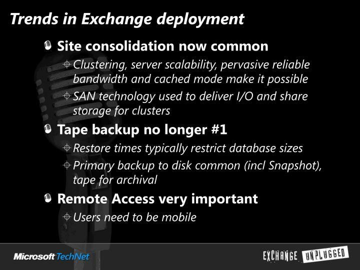 Trends in Exchange deployment