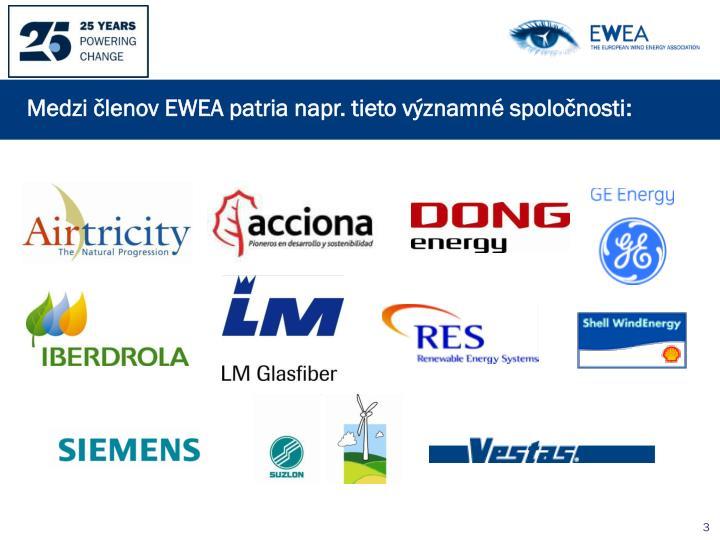 Medzi členov EWEA patria napr. tieto významné spoločnosti