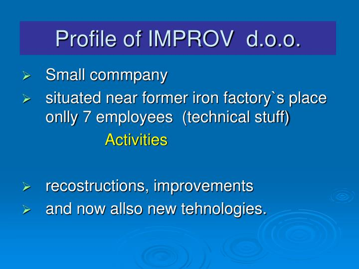 Profile of IMPROV  d.o.o.