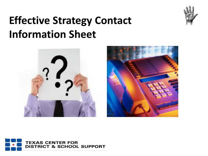 Effective Strategy Contact Information Sheet