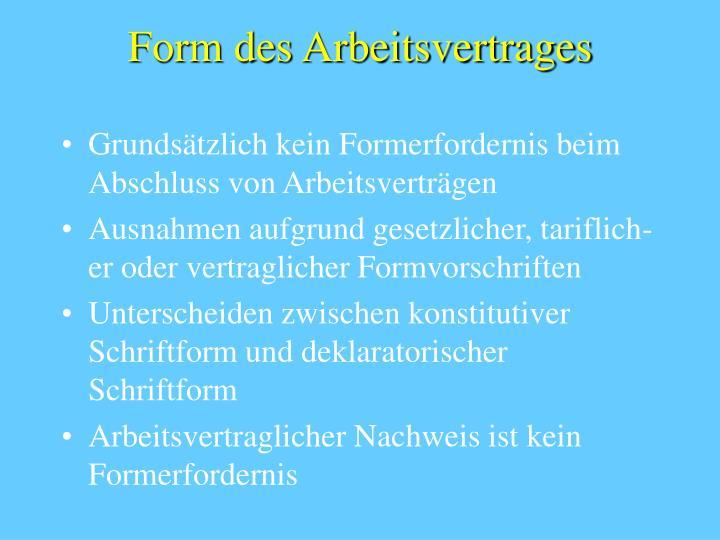 Form des Arbeitsvertrages