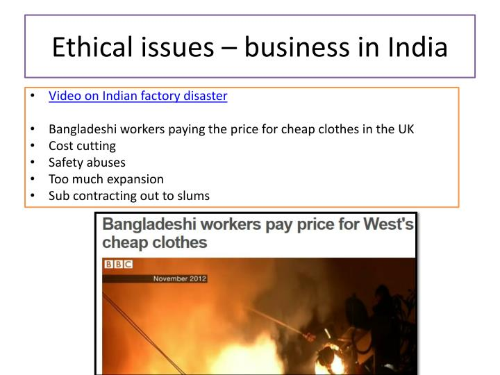 Ethical issues – business in India