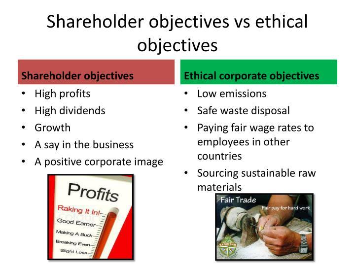 Shareholder objectives vs ethical objectives