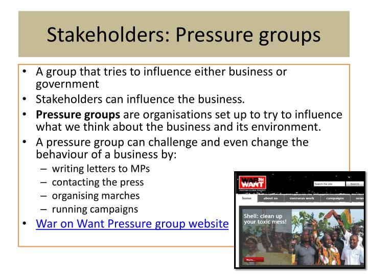 Stakeholders: Pressure groups