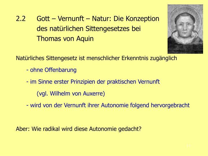2.2Gott – Vernunft – Natur: Die Konzeption