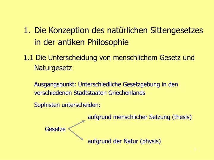 Die Konzeption des natürlichen Sittengesetzes in der antiken Philosophie