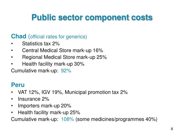 Public sector component costs