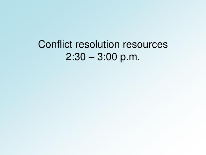 Conflict resolution resources