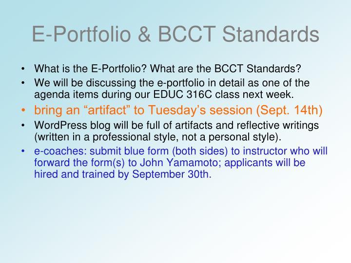 E-Portfolio & BCCT Standards