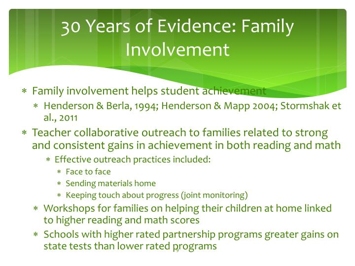 30 Years of Evidence: Family Involvement