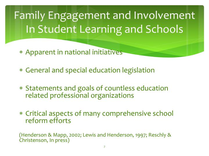 Family Engagement and Involvement In Student Learning and Schools