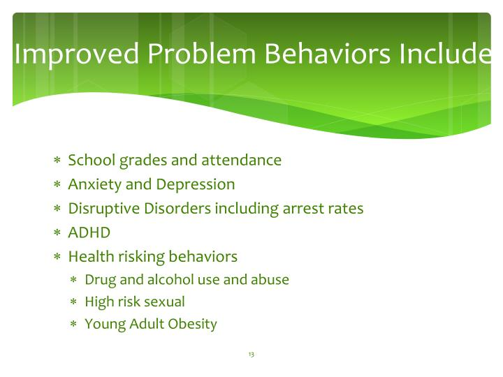 Improved Problem Behaviors Include