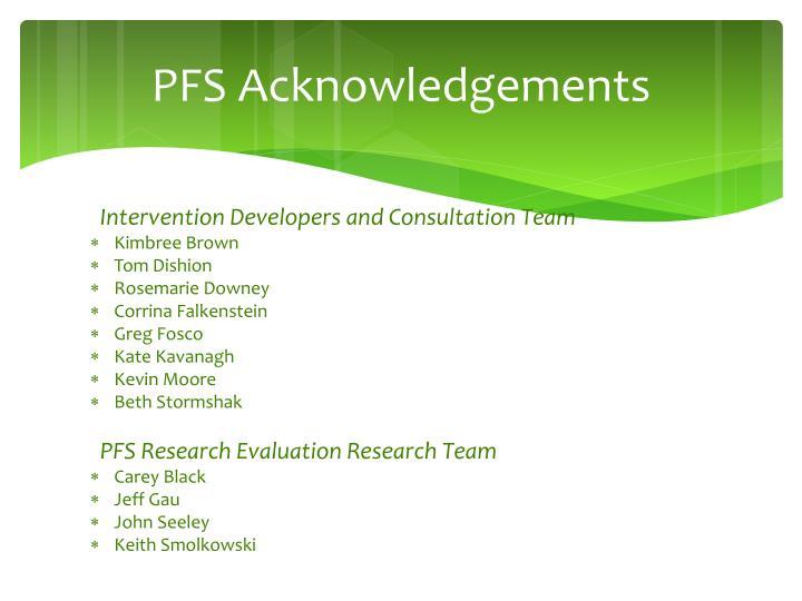 PFS Acknowledgements