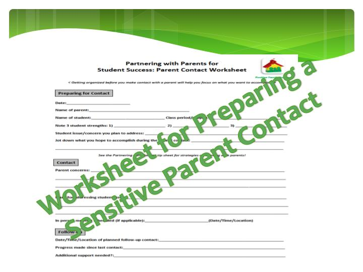 Worksheet for Preparing a Sensitive Parent Contact