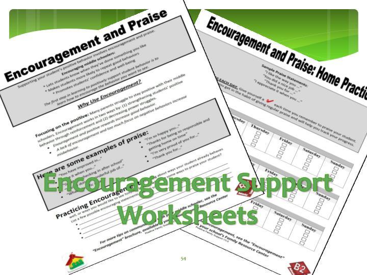 Encouragement Support Worksheets