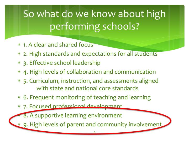 So what do we know about high performing schools?