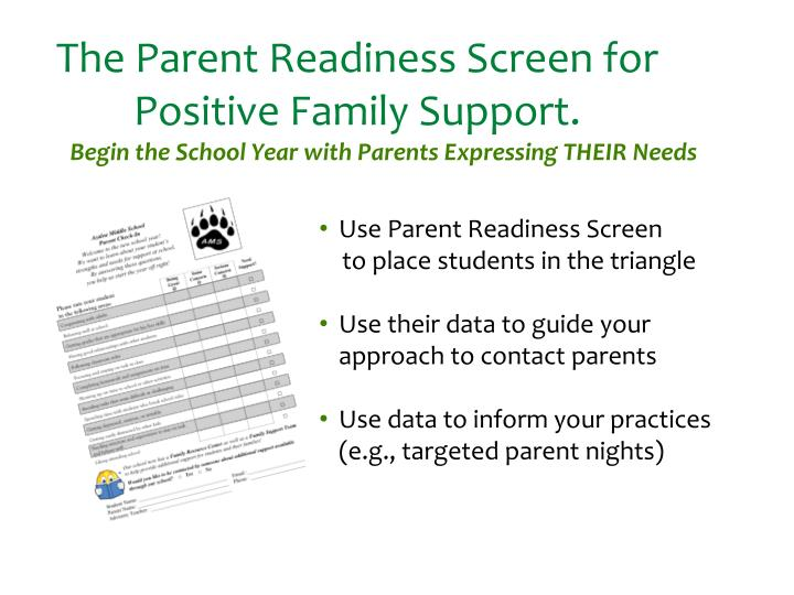 The Parent Readiness Screen for Positive Family Support.