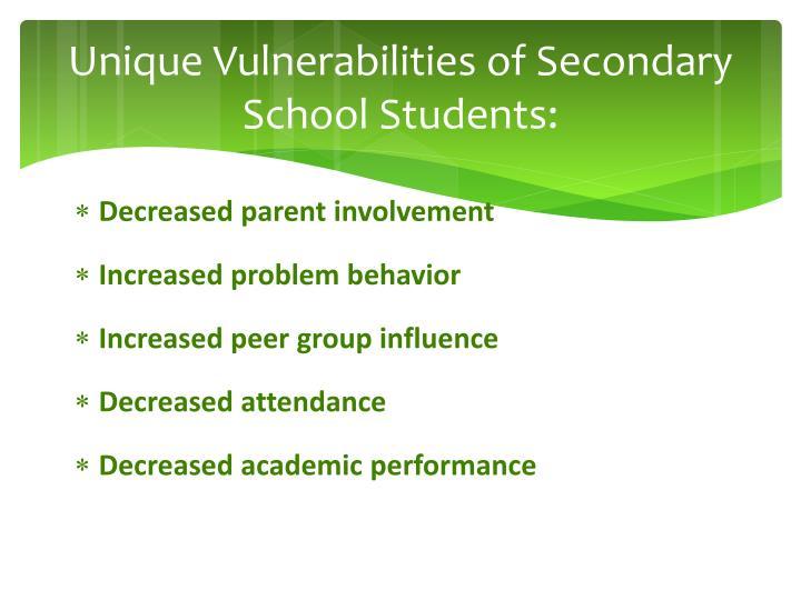 Unique Vulnerabilities of Secondary