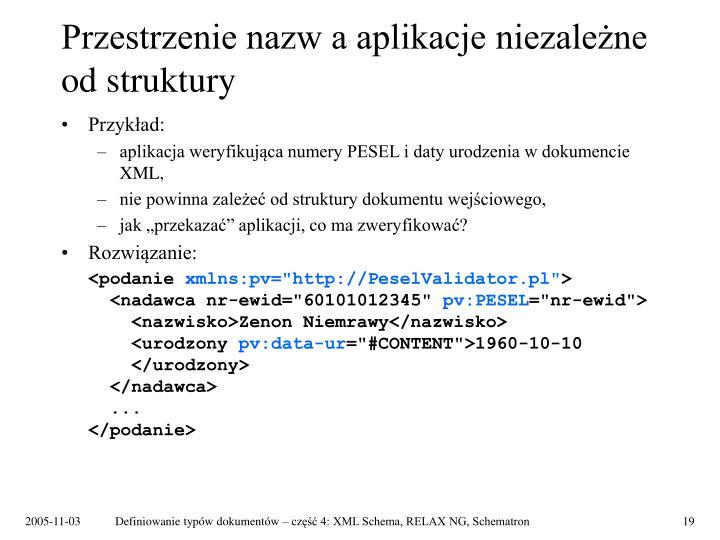 Przestrzenie nazw a aplikacje niezależne od struktury
