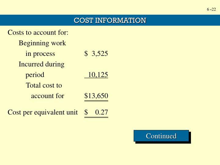 Cost per equivalent unit$    0.27