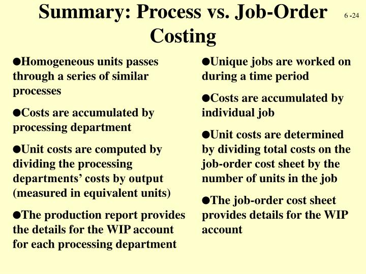 Summary: Process vs. Job-Order Costing