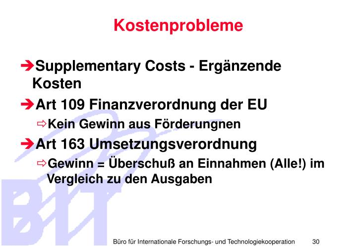 Kostenprobleme
