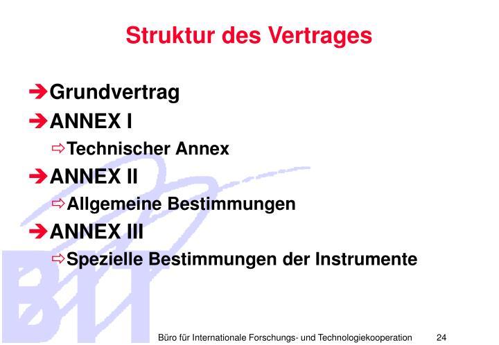 Struktur des Vertrages