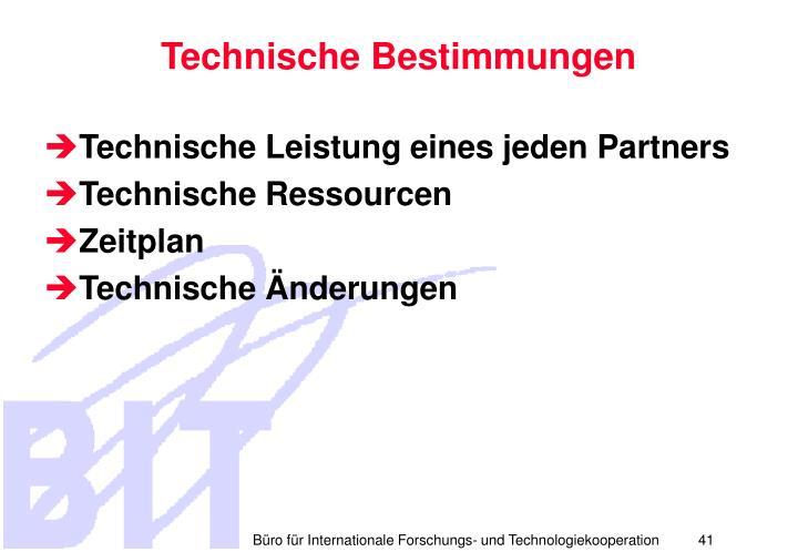 Technische Bestimmungen