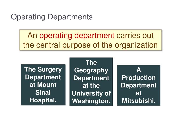 Operating Departments