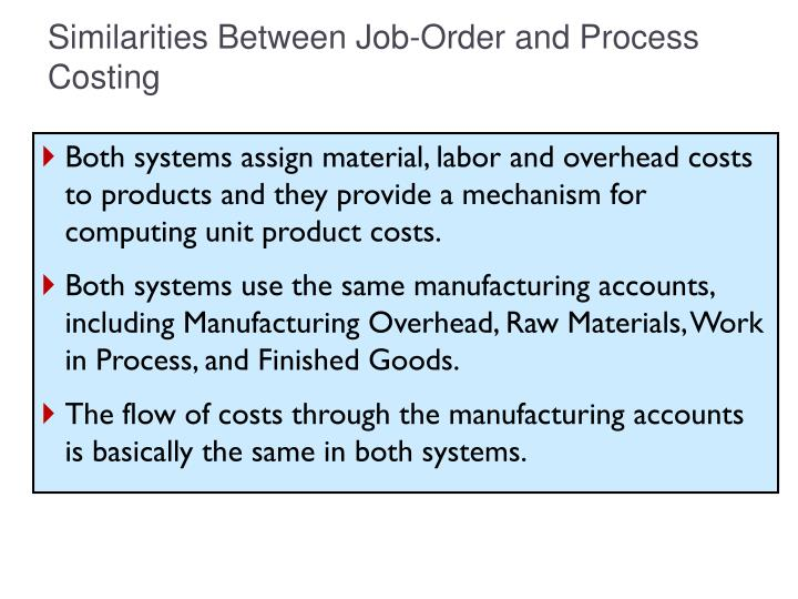 Similarities between job order and process costing