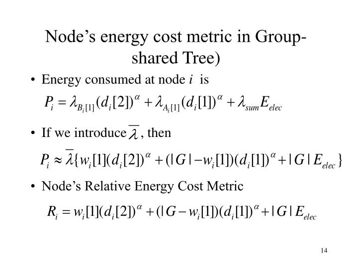 Node's energy cost metric in Group-shared Tree)