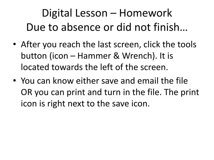 Digital Lesson – Homework