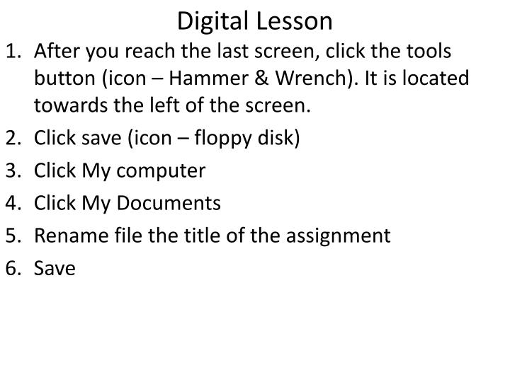 Digital Lesson