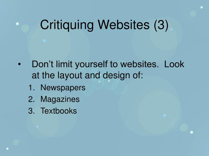 Critiquing Websites (3)