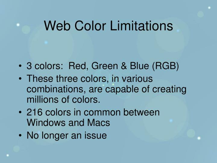 Web Color Limitations