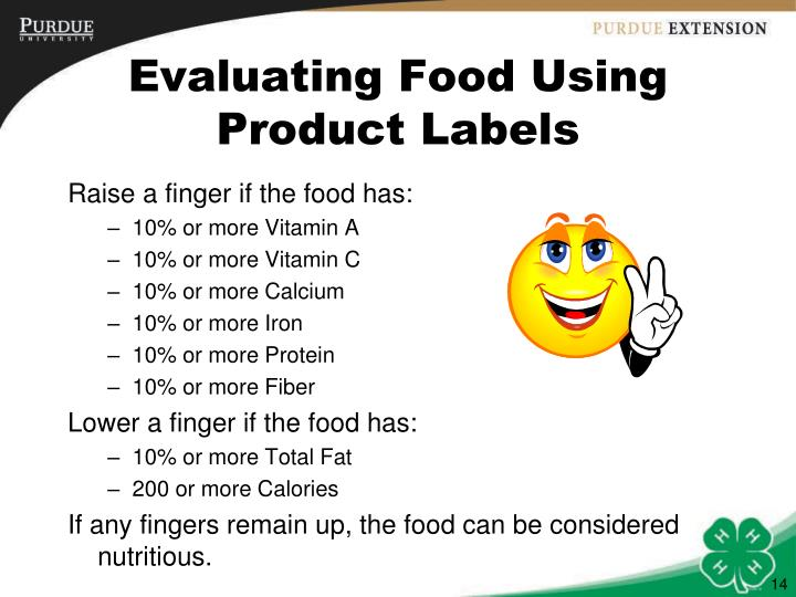 Evaluating Food Using Product Labels