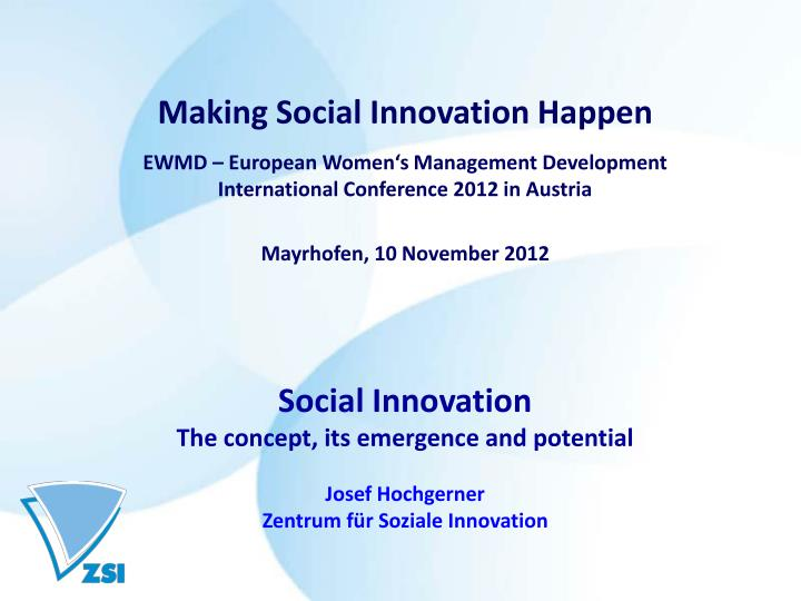 Making Social Innovation Happen