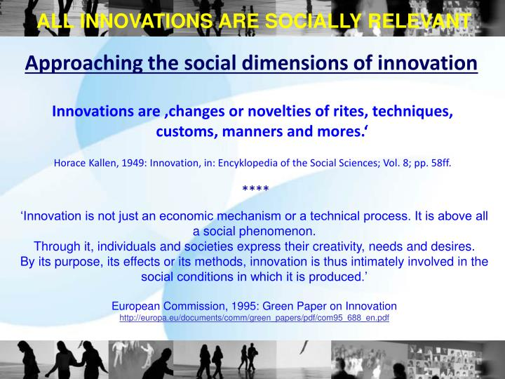 ALL INNOVATIONS ARE SOCIALLY RELEVANT