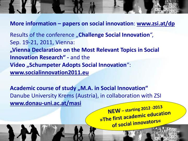 More information – papers on social innovation