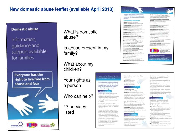 New domestic abuse leaflet (available April 2013)