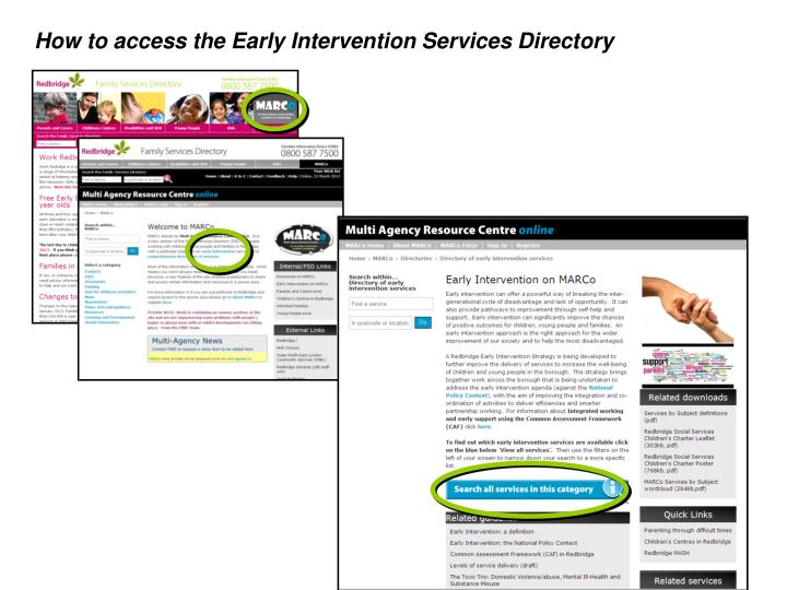 How to access the Early Intervention Services Directory