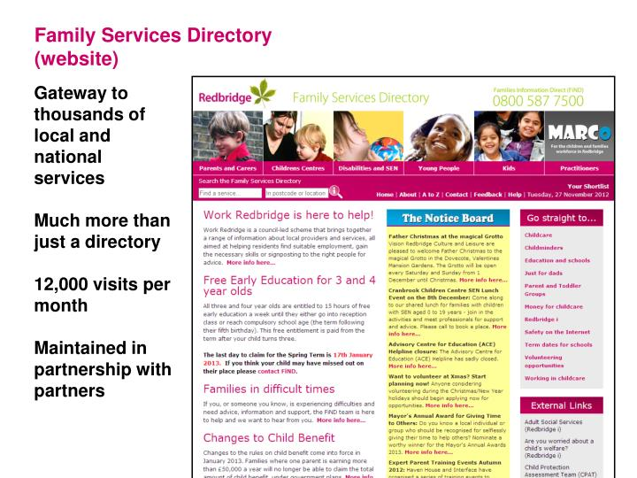 Family Services Directory (website)