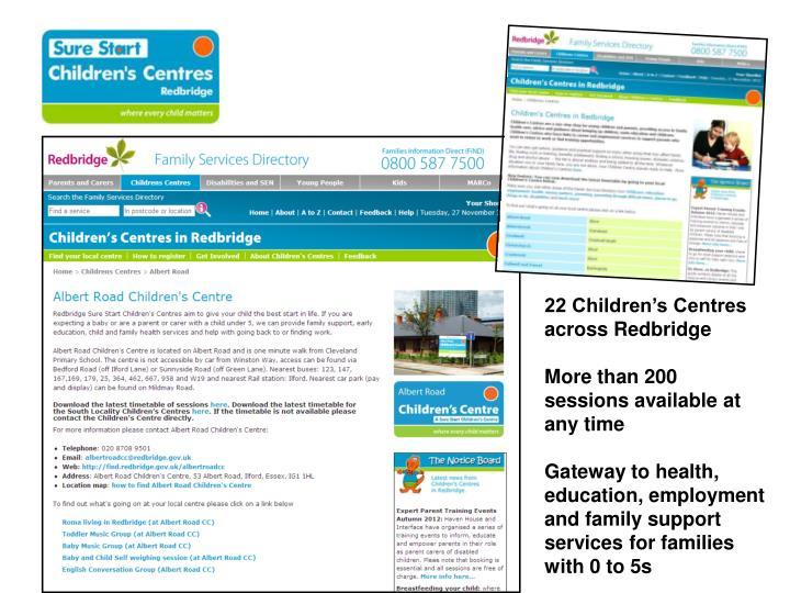 22 Children's Centres across Redbridge
