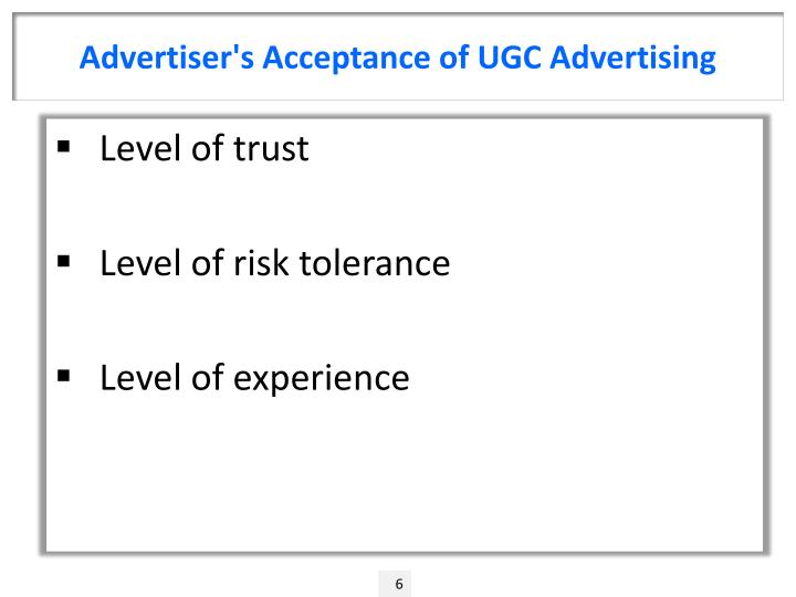 Advertiser's Acceptance of UGC Advertising