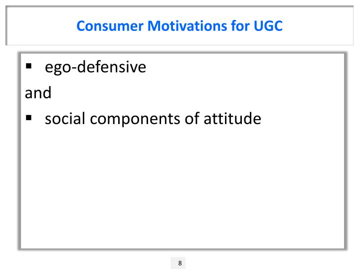 Consumer Motivations for UGC