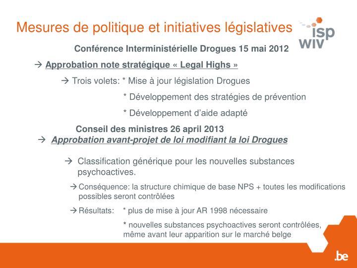 Mesures de politique et initiatives législatives
