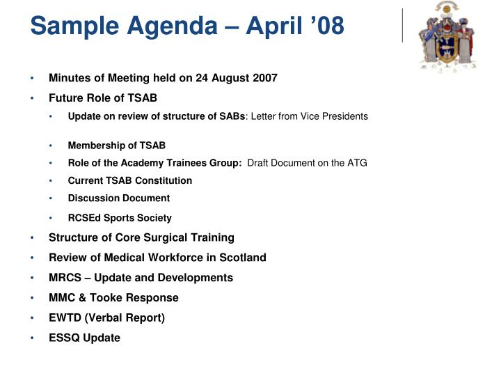 Sample Agenda – April '08